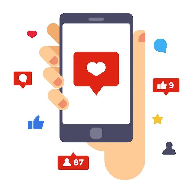 Corazón en la pantalla del teléfono inteligente. asimiento de la mano del teléfono inteligente. ilustración de vector de diseño plano creativo Vector Premium
