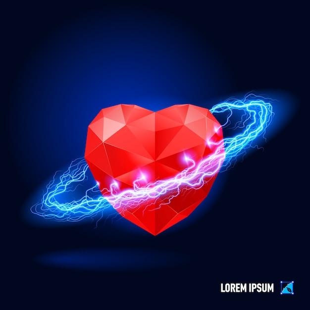 Corazón rodeado de electricidad azul Vector Premium