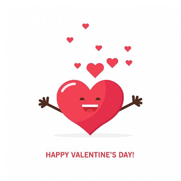 Corazón rojo para el día de san valentín. Vector Premium