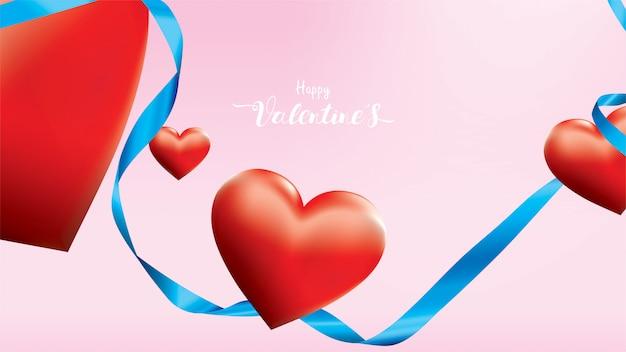 El corazón romántico rojo colorido de la tarjeta del día de san valentín 3d forma el vuelo y la cinta de seda azul flotante en fondo rosado. Vector Premium