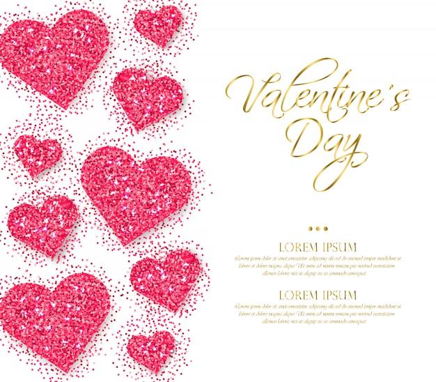 Corazon rosa corazones dia de san valentin Vector Premium