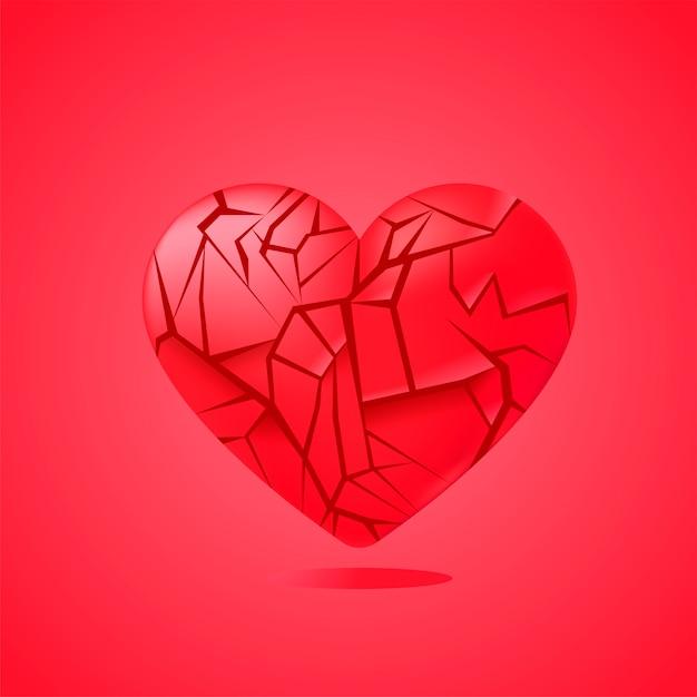 Corazón roto sellado aislado. fragmentos de cristal rojo. vector gratuito