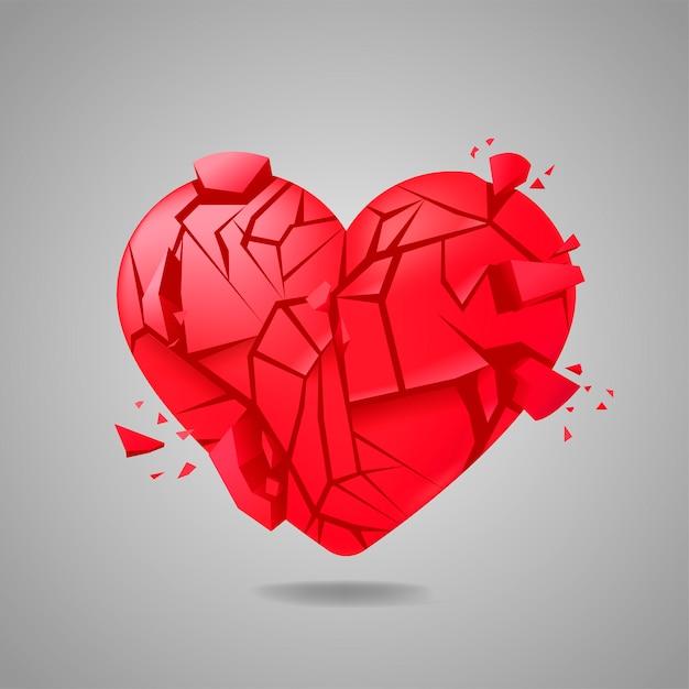 Corazón roto sellado aislado vector gratuito