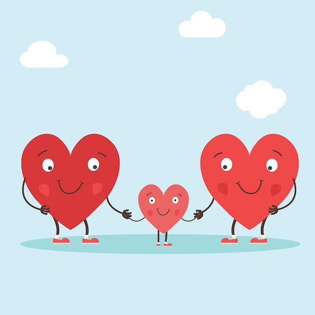 Corazones personajes como simbolos de amor y familia. Vector Premium
