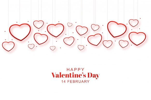 Corazones de san valentín románticos decorativos en tarjeta vector gratuito