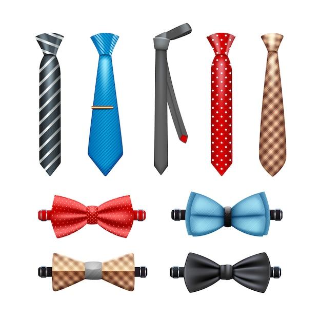 Corbata y pajarita conjunto realista. vector gratuito