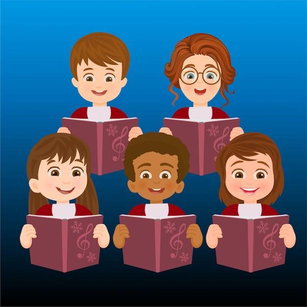 Un coro de niños cantando    Descargar Vectores Premium