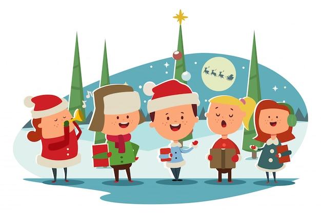 Coro de niños lindos cantando villancicos de dibujos animados Vector Premium