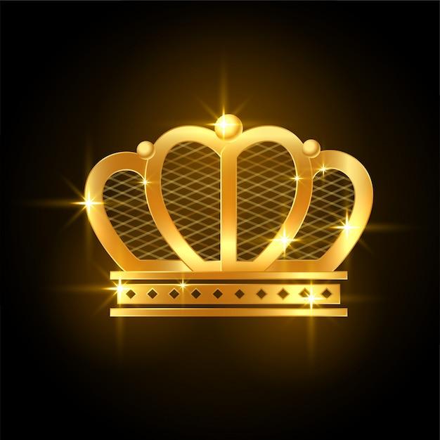 Corona brillante dorada premium para rey o reina real vector gratuito