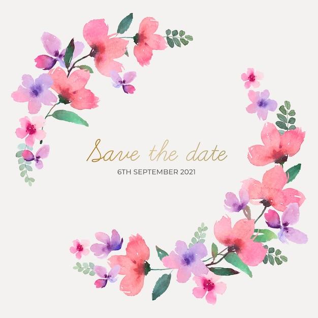Corona floral de boda acuarela vector gratuito