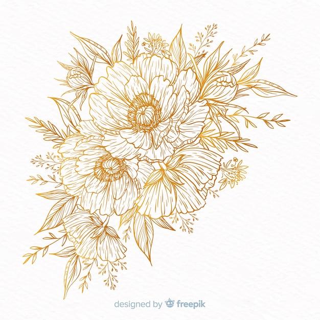Corona de flores decorativa dibujada vector gratuito