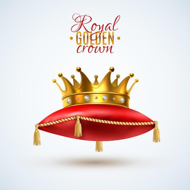 Corona goyal sobre almohada roja vector gratuito