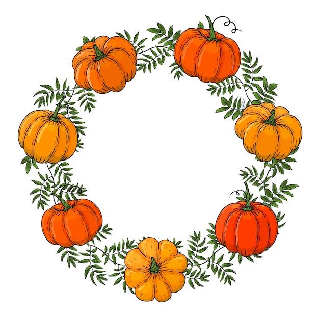 La corona está hecha de calabazas de colores. dibujar a mano marco de otoño. plantilla para tu diseño. formulario para texto. para embalaje, publicidad. ilustración. Vector Premium