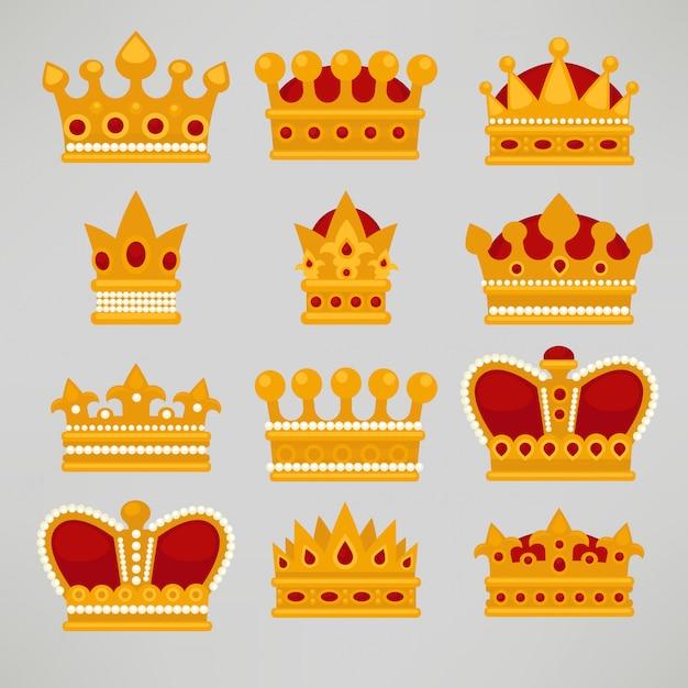 Corona iconos plana real conjunto. Vector Premium