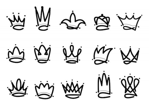 Corona logo icono dibujado a mano Vector Premium