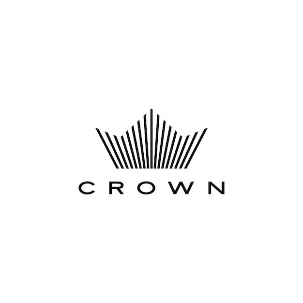 Corona logo icono línea rayas estilo Vector Premium