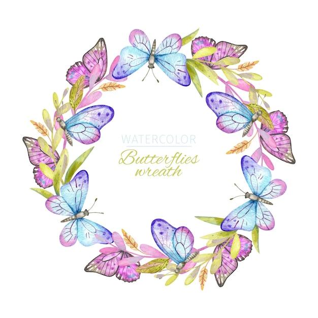 Corona de mariposas acuarela vector gratuito