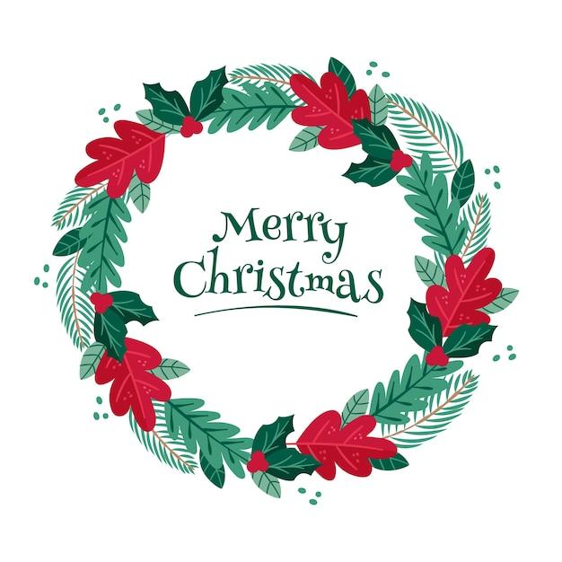 Corona de navidad dibujada a mano con hojas de pino vector gratuito