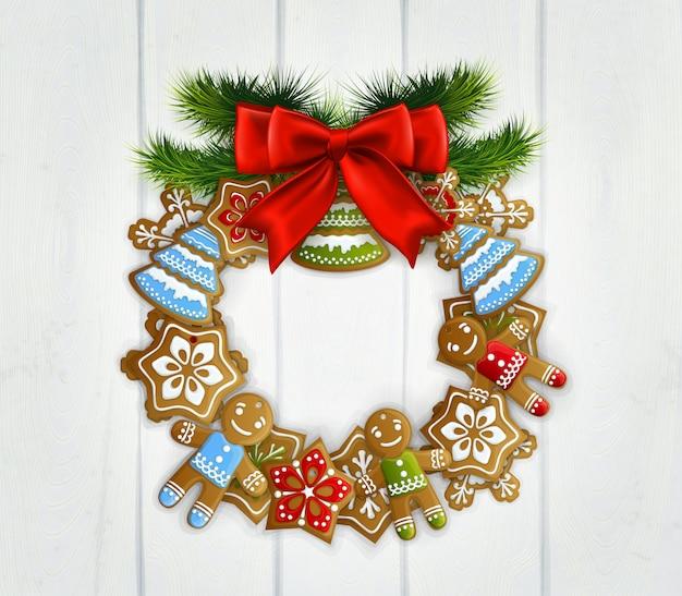 Corona de navidad con lazo rojo vector gratuito