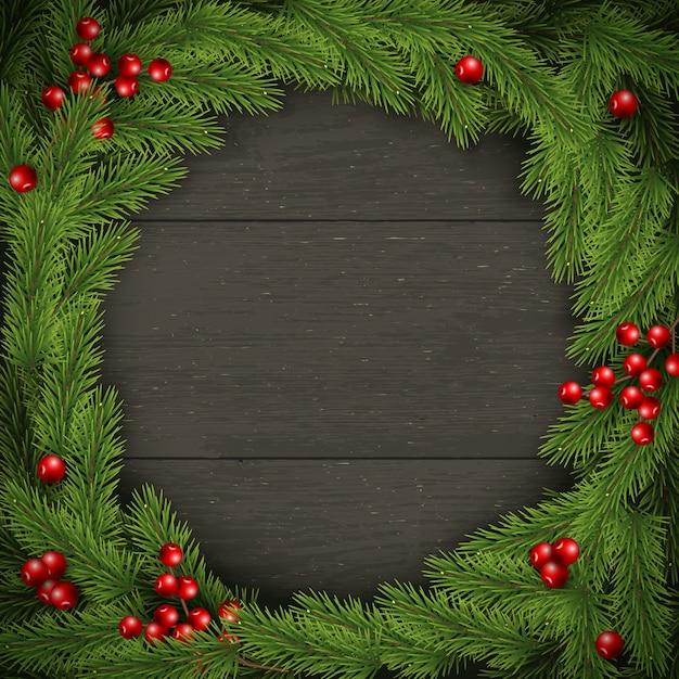 Corona de navidad en madera oscura. para tarjeta de felicitación, póster y pancarta Vector Premium