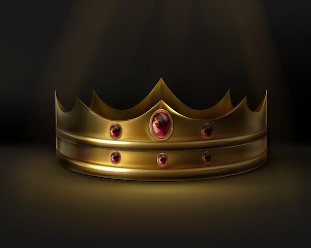 Corona de oro real con piedras preciosas rojas aisladas vector gratuito