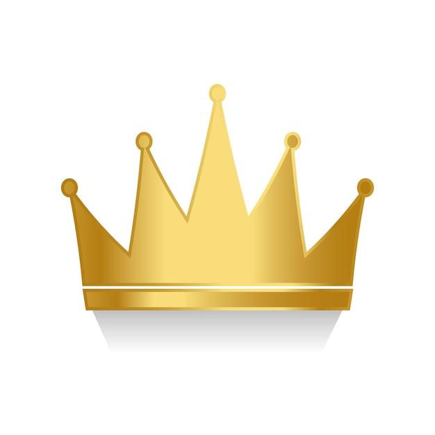 Corona de oro en vector de fondo blanco vector gratuito