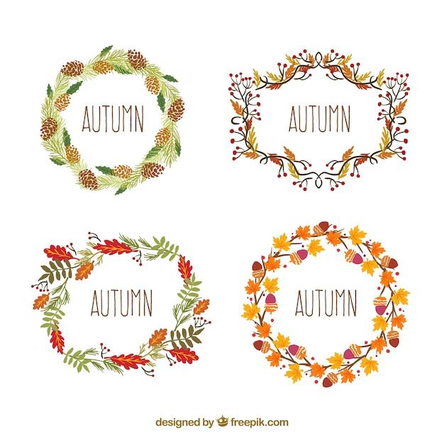 Coronas de flores de otoño | Descargar Vectores gratis