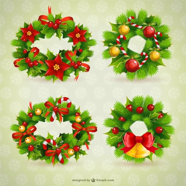 coronas de navidad vector gratis - Coronas Navidad