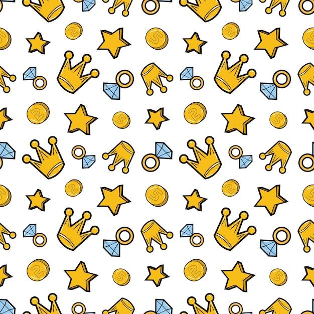 Coronas de diamantes y dinero de patrones sin fisuras. fondo de moda en estilo retro comic. ilustración Vector Premium