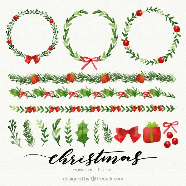 Coronas florales y bordes navideños de acuarela  Vector Gratis