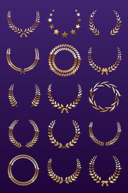 Coronas de laurel dorado sobre fondo violeta, conjunto de corona de premio foliado para campeonato o festival de cine. Vector Premium