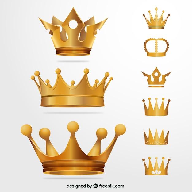 Coronas de oro vector gratuito