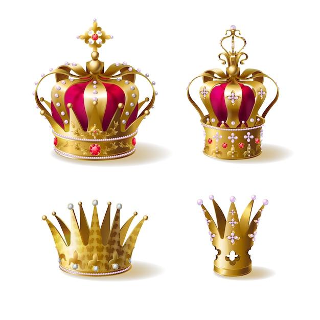 Coronas reales de oro vector gratuito