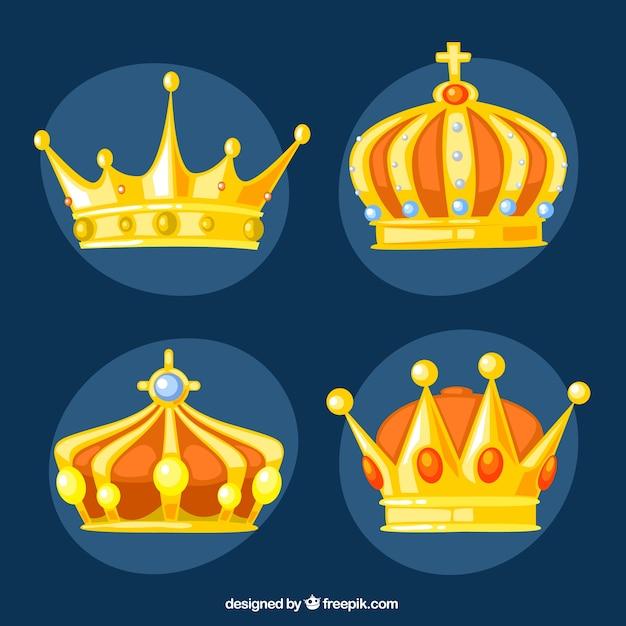 Coronas Del Rey De Oro Descargar Vectores Gratis