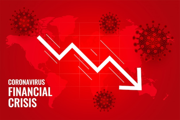 El coronavirus impacta la crisis financiera mundial de caída vector gratuito