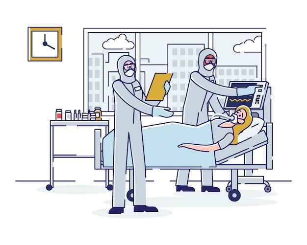 Coronavirus y terapia intensiva mujer infectada enferma está en cuidados intensivos Vector Premium