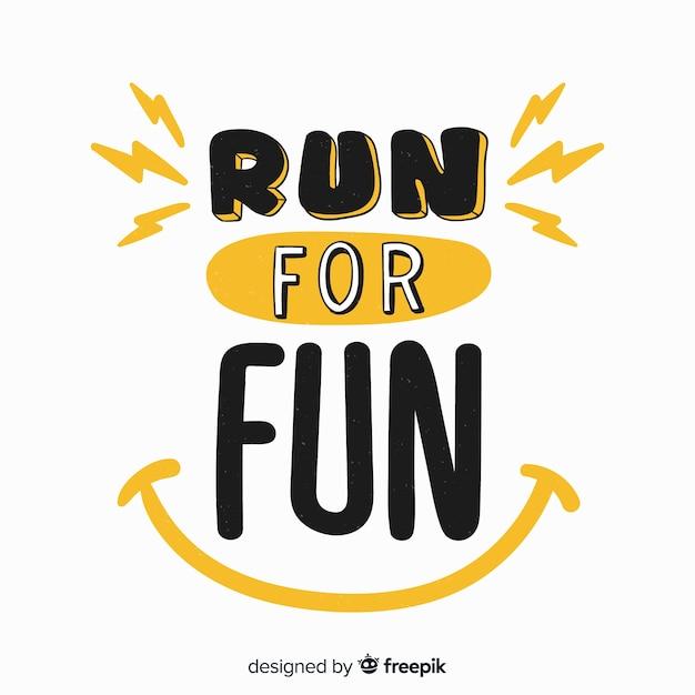 Corre por divertidas letras deportivas vector gratuito