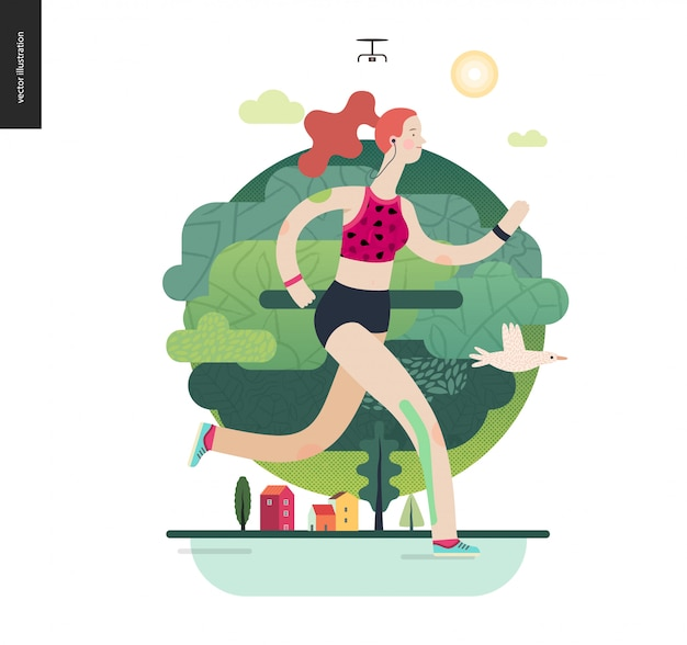 Corredores, chica haciendo ejercicio Vector Premium