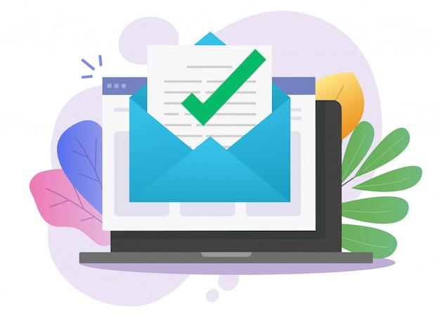 Correo electrónico aprobado correo electrónico carta mensaje aviso marca de verificación en el documento en línea en la computadora portátil Vector Premium