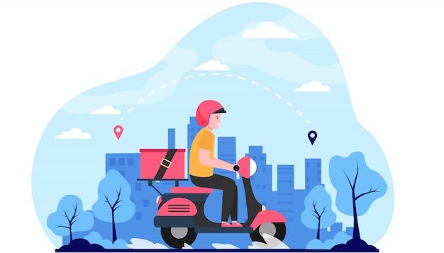Correo urgente en orden de envío de scooter vector gratuito