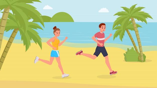Correr deportistas en la playa. Vector Premium