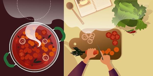 Cortar verduras en una tabla de cortar para borsch. Vector Premium