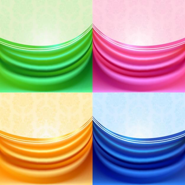 Cortina de colores, tejido de seda Vector Premium