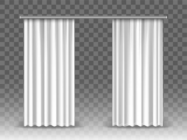 Cortinas blancas aisladas sobre fondo transparente. cortinas de maquetas realistas colgando de varilla de metal Vector Premium