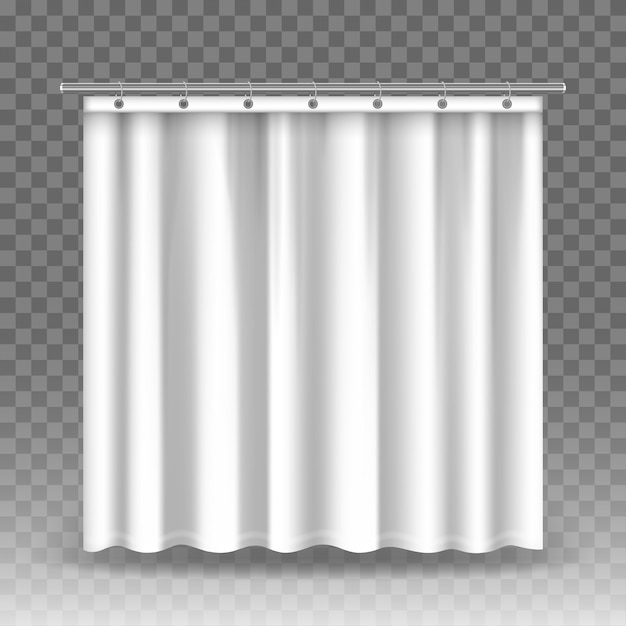 Cortinas blancas aisladas sobre fondo transparente. cortinas realistas colgadas en aros y varillas de metal. Vector Premium