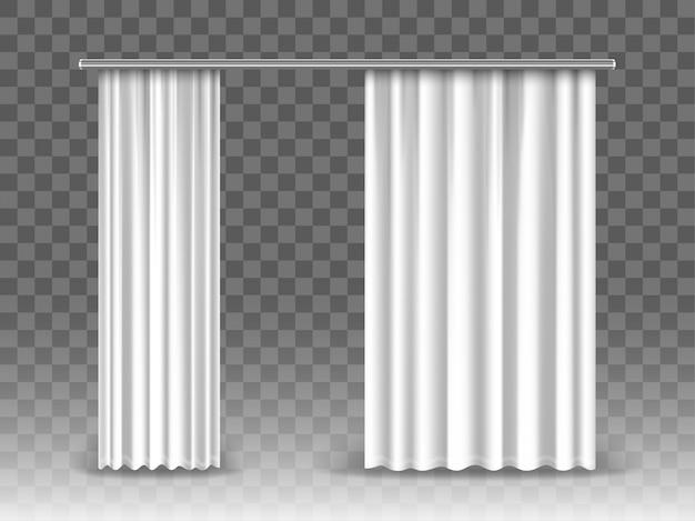 Cortinas blancas aisladas sobre fondo transparente. cortinas realistas colgadas en varillas de metal. Vector Premium