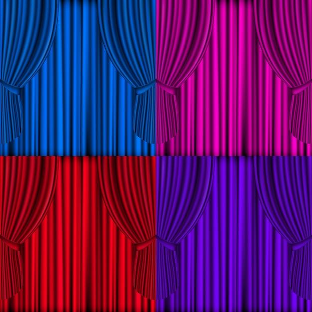 Cortinas de colores de malla de vector para el escenario del teatro Vector Premium