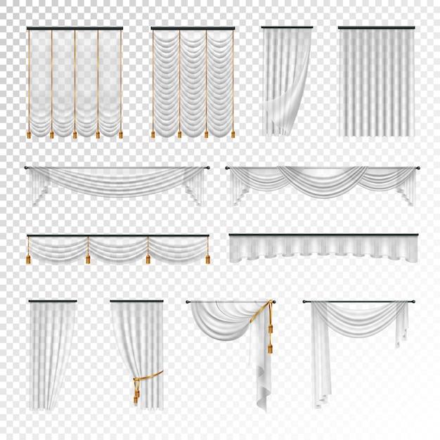 Cortinas y cortinas de lujo transparente decoración de interiores ideas de diseño. vector gratuito