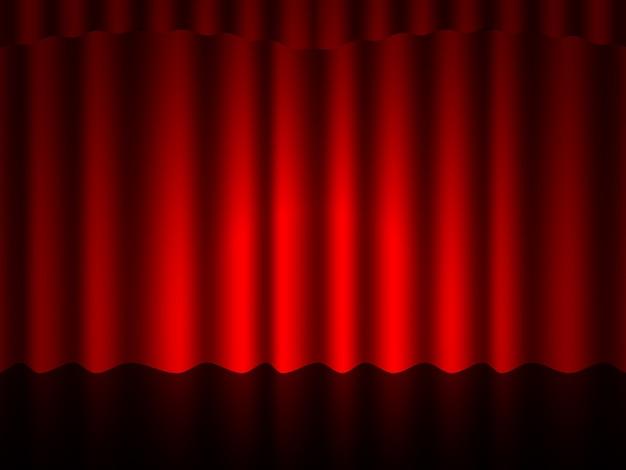 Cortinas y cortinas de terciopelo de seda roja escarlata de lujo. Vector Premium