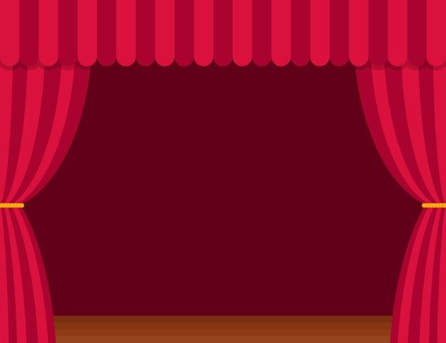 Cortinas de escenario con piso de madera marrón en estilo plano. teatro Vector Premium